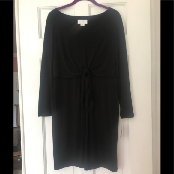 Jessica Simpson Black Front Tie Long Sleeve Dress